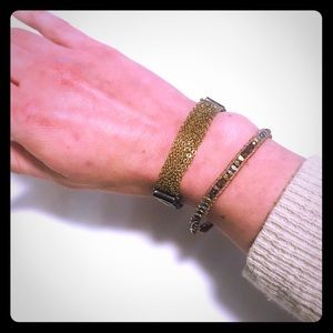 Jewelry - Set of 2 metal and leather bracelets